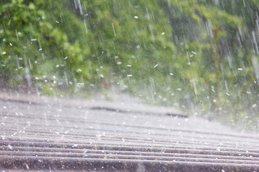 hailing on roof